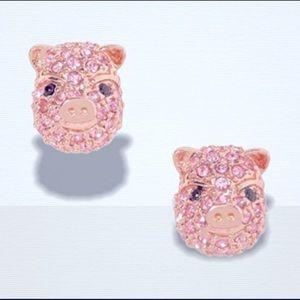 """kate spade """"Imagination"""" Pave Pig Pink CV studs"""